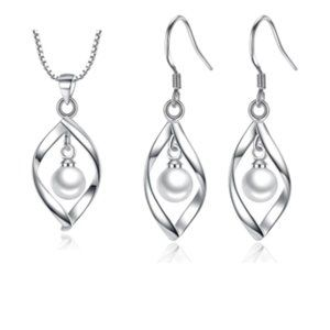 NEW [Set of 2] Slivering Silver Necklace+Earrings